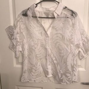Women's floral button down blouse